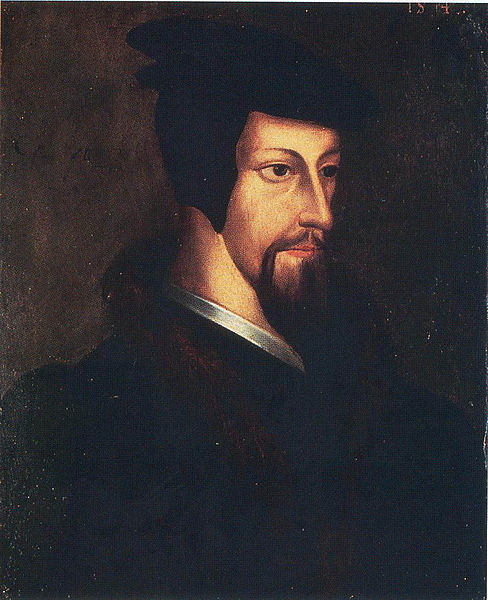 """Portrait of the Young John Calvin"" by an unknown Flemish artist at the Library of Geneva. He was a brilliant systematic theologian of severe Protestantism, who tried to turn the city into a theocracy and got thrown out. He remains a controversial figure of worldwide influence; heretic-haters shouldn't start fires."