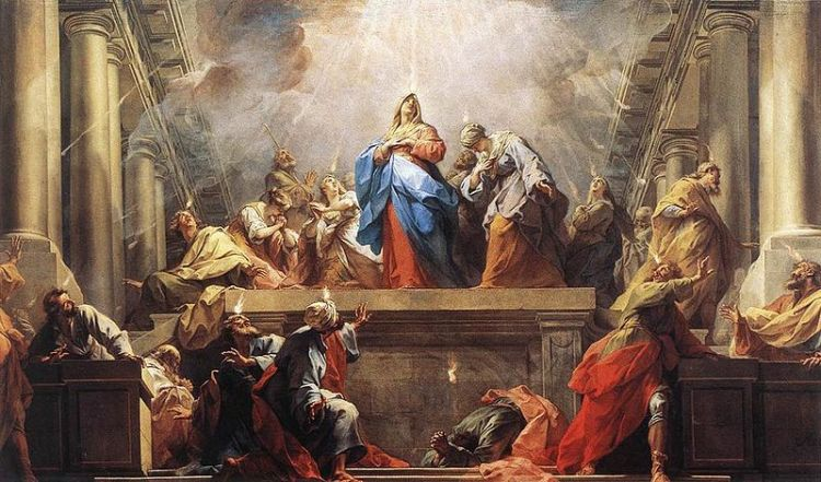 Jean II Restout, 1732: Pentecost. This day, often called the Birthday of the Church, marks the descent of the Holy Spirit ten days after Christ's Ascension. This is the 50th and last day of the Easter Season and the beginning of our life in the Spirit. To Christians, the significance of Pentecost cannot be overstated; it ranks right up with Christmas and Easter. The Holy Spirit is the Person of God who lives with us today, guiding and comforting us, the Spirit of true love.