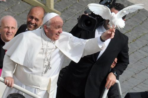 Pope Francis makes a new friend.