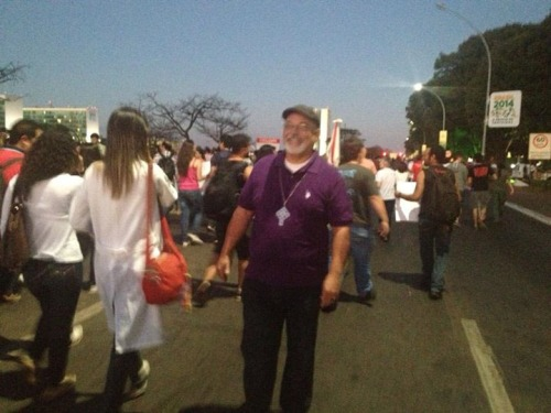 The Anglican Primate of Brazil, Mauricio Andrade, joined the peaceful demonstration in Brasilia, the capital, June 24. (Nina Boe/Episcopal News Service)