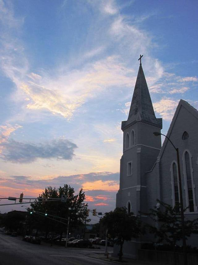 Dusk at my home parish, St. John's, Lafayette, Indiana, USA. (Angie Klink)