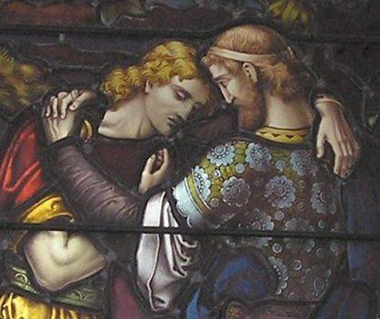 David & Jonathan, window detail at St. Mark's, Portobello, Edinburgh, Scotland, 1882