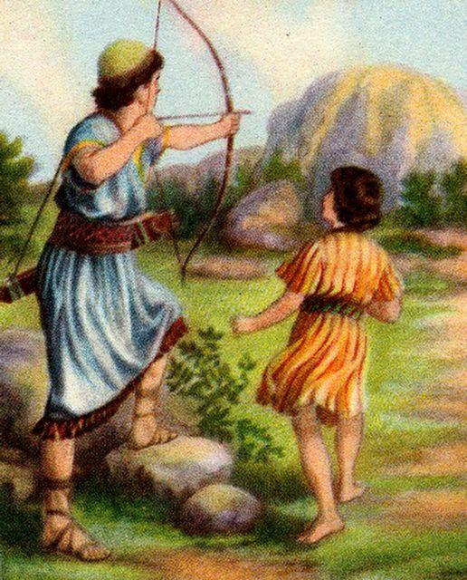 From an unknown children's book of Bible stories, Jonathan shoots arrows to warn David.