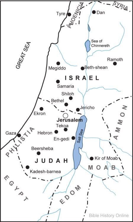 The division of Judah and Israel during the kingly period. (Bible History Online)