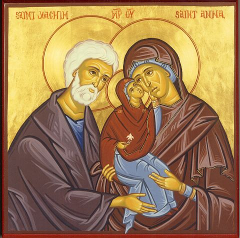 The parents of Mary do not appear in the New Testament, and we know nothing definite about them. They are discussed however in the apocryphal Gospel of James, and from there all manner of pious legends have been spun. We know that Mary had parents and that they must have been righteous people; the rest we must leave to the imagination. (iconographer unknown)