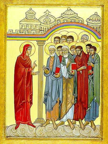 Sr. Mary Charles McGough, OSB: St. Mary Magdalene Announces the Resurrection. In Orthodoxy, she is revered as First of the Apostles. (Church of St. Mary Magdalene, San Diego, California)