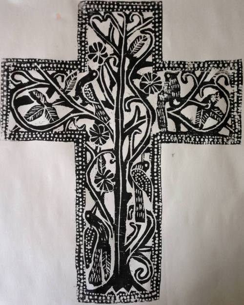 Block print of the Cross as a tree with birds, by the Rev. Canon Mark Harris, based on an unknown Haitian's ironwork he saw during a mission there. This is Haitian art, reproduced by an old-method American craftsman, priest and lover of the people.