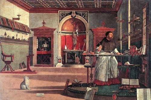 "Vittore Carpaccio, Vittore Carpaccio, 1502: The Vision of St. Augustine of Hippo. He was the greatest theologian of the Western Church and author of two classics, his ""Confessions"" and ""The City of God."""