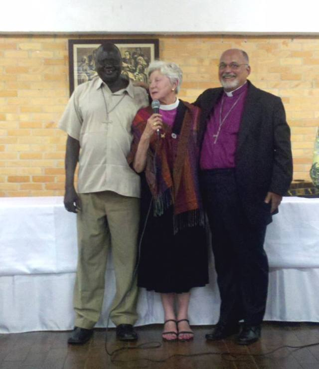 +Ruben, +Cate and +Mauricio, the Bishops of Bor, Indianapolis and Brasilia, diocesan partners in mission, got to meet last week in Brazil for fellowship and strategizing while celebrating the 10th anniversary of +Mauricio's consecration. He also serves as Brazil's Prime Bishop. (Marylin Day/Diocese of Indianapolis)