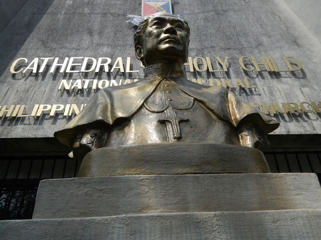 Bust of Bishop Aglipay at the IFI National Cathedral. He was a patriot and revolutionary as well as a priest; when the Roman Church banished him, his creating an independent catholic church made him a national figure. (Ramon F. Velasquez, Wikipedia)