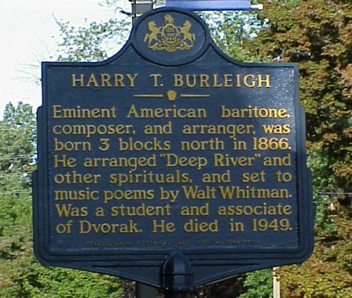 Historical marker in Erie, Pennsylvania, USA, Burleigh's birthplace and burial place. To support himself while studying at the National Conservatory of Music, he became the first black choirmember and baritone soloist at St. George's, New York City, which raised opposition in the parish until the financier J.P. Morgan threw his weight behind him. Burleigh stayed at St. George's for many years and became a beloved member of the congregation. (findagrave.com)