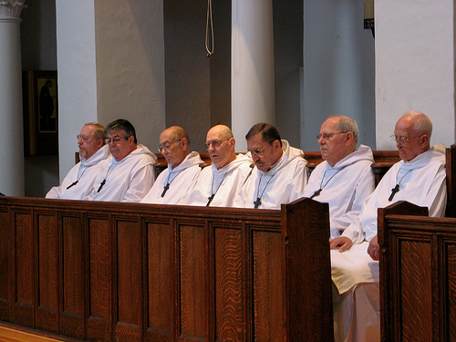 Monks in chapel at the Holy Cross Monastery, West Park, New York. (monastery photo)