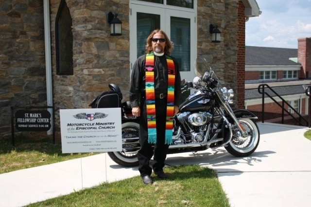 This image may not strike you as faith + works, but don't be deceived. Steve McCarty has been riding motorcycles since he was old enough to drive. He retired as a Maryland state trooper and is now Vicar of St. Andrew's, Clear Springs, where, in addition to other duties, he conducts a motorcycle ministry. Often cyclists feel shunned by church congregations because of how they look; many are alienated. Yet Fr. McCarty finds they are often hungry for ministry; he began his outreach when someone asked him about the Episcopal shield on his leather jacket. He now conducts a monthly Eucharist for 30 regulars; they take up a collection in a motorcycle helmet and give the proceeds to food banks, shelters and human service agencies. Nationwide, most bikers are eager to help. (Photo: Diocese of Maryland; reporting: Pat McCaughan, Episcopal News Service)