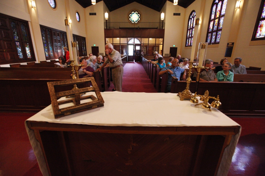 Gathering before church on July 3 at St. Paul's, Bakersfield, California, Where Grace Happens in the Episcopal Diocese of San Joaquin. (parish website)