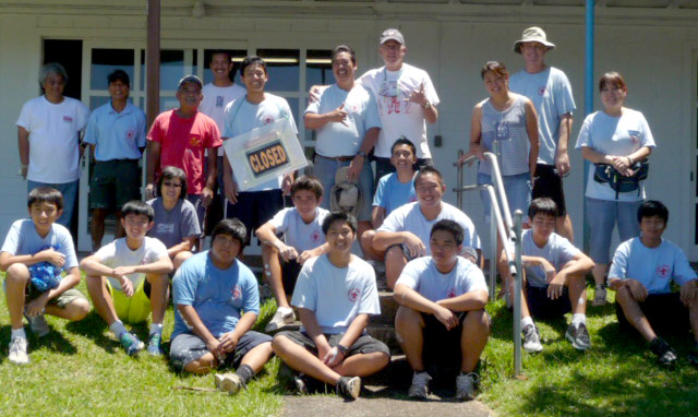 "Boy Scouts and adult volunteers from Honpa Hongwanj Troop 49, after painting the ""new"" parish hall at St. Stephen's, Wahiawa, Hawaii, spring 2013. (Fr. Gregory Johnson)"