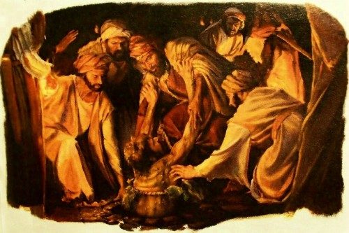 Ebed-melech rescues Jeremiah from the cistern. (casadelnuevopacto.blogspot.com)