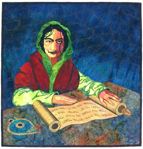 Julie Duschack, figurative quilt, 2004: the prophet Huldah
