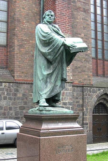 Luther statue at St. Mary's, Berlin, Germany. (Adam Carr, Wikipedia)