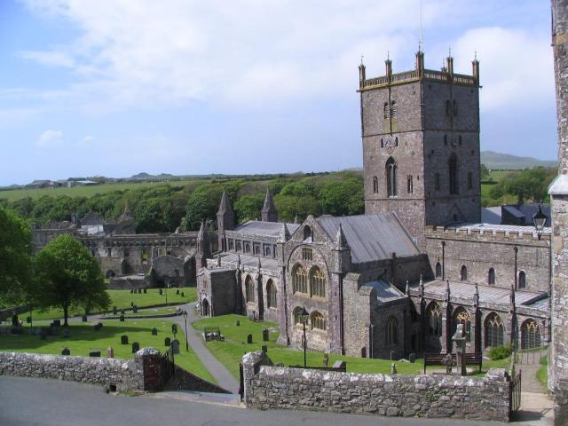 St. David's Cathedral, in the town of St. Davids in Pembrokeshire, Wales, one of the great historic pilgrimage sites in Christendom. In 1123 the Pope decreed that two trips to St. David's was equal to a pilgrimage to Rome, and three trips was as good as going to Jerusalem. (Bill Damick/castlewales.com)
