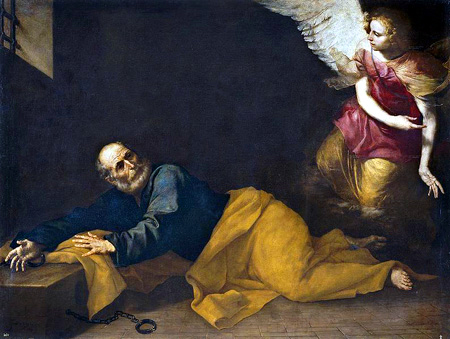 Angel appearing to St. Peter in prison. The handcuffs are gone and the angel points the way out. (artist unknown)