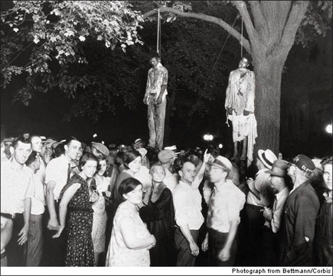 This is not a Halloween photo, but shocking and horrible reality - and it's definitely something to know about for All Saints' Sunday: the last racist lynching in the northern United States took place in Marion, Indiana in 1930, ostensibly because three Black men allegedly murdered a White man and raped his girlfriend. But the frenzy and hatred of the crowd casts the entire story in doubt. Now today our question is this: what happened after the lynching? Were any saints moved to act in the name of Christ? The answer is yes, as you'll see below. (Lawrence H. Beitler)