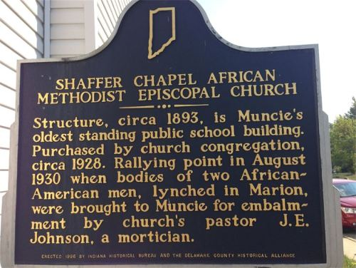 The pastor of Shaffer Chapel in nearby Muncie, Indiana, was also a mortician, and he was moved to give the bodies of lynching victims Thomas Shipp and Abram Smith a proper Christian burial. Church members kept an all-night vigil to protect the bodies, the pastor and the church itself from attack by the racist mob. They defused the violence, and the victims were allowed to rest in peace. ¶ Today the congregation at Shaffer Chapel, always small, remains a mixed-race house of prayer for all people. But their building has deteriorated, and the neighborhood Whitely Community Council is stepping up to raise money to preserve and beautify it. Yes, we know of saints in the past – the civil rights movement from 1865 to 1965 was full of unknown saints like these, committing quiet heroism; and yes, there are saints among us still, saints among us always, saints whom no one knows; and today is their day. (shafferchapel.org)