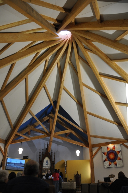 St. James's, Cannon Ball, North Dakota, on the Standing Rock Indian Reservation, was built in the shape of a tipi, a traditional dwelling. (Mary Frances Schjonberg/Episcopal News Service)