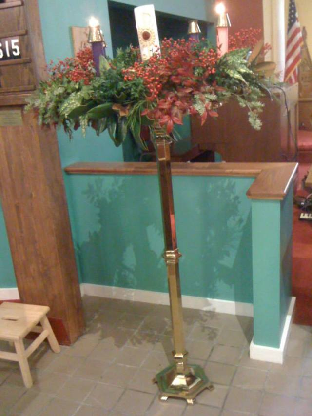 A fairly spectacular Advent wreath at St. Mary's, Jasper, Alabama, USA. (Rebecca Nelson)