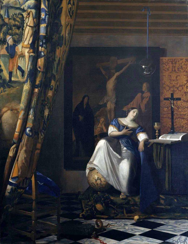 Johannes Vermeer, c. 1670-72: Allegory of the Catholic Faith (Metropolitan Museum of Art)