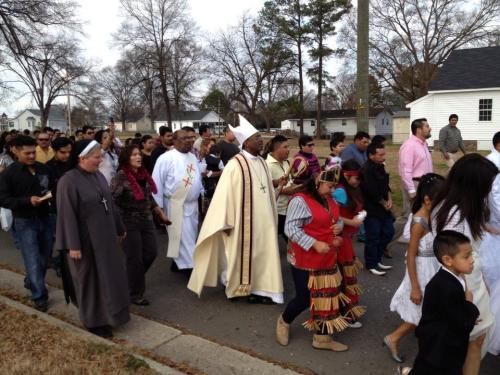 The Bishop of North Carolina, Michael Curry, led a procession last year for Our Lady of Guadalupe at a congregation named for her and hosted by St. Mark's, Wilson, North Carolina. What a great turnout in this small town! (via Facebook)