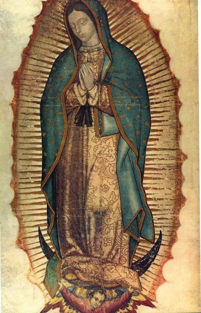The legend says that this image was imprinted inside the cloak worn by the Aztec man to whom the Virgin first appeared in the 1500s, shortly after the Spanish conquest. (Wikipedia)