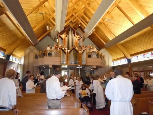 Christ the King Sunday last month at Prince of Peace, Woodland Hills, California, where honored music director Boude Moore was honored on his 25th anniversary with the parish. (submitted by Cara Gordon)