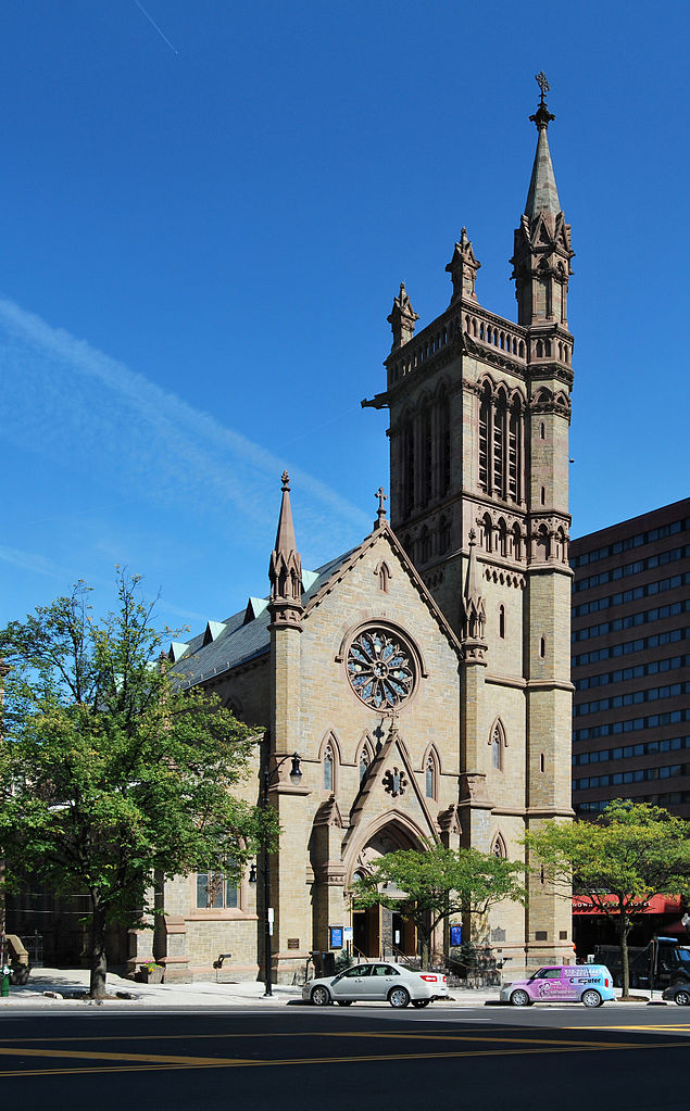 "Richard Upjohn, architect: St. Peter's, Albany, New York. He was a co-founder of the American Institute of Architects and published a sketchbook of wood-frame churches for country parishes in a widely-copied style that came to be called ""Carptenter Gothic."" (Matt Wade/Wikipedia)"