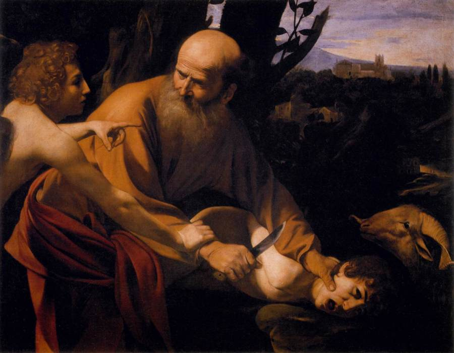 "Caravaggio, 1602: The Sacrifice of Isaac. This is one of the most difficult stories in the entire Bible; it  prefigures the crucifixion and resurrection of Christ, in which God offered ""his son, his only son."""