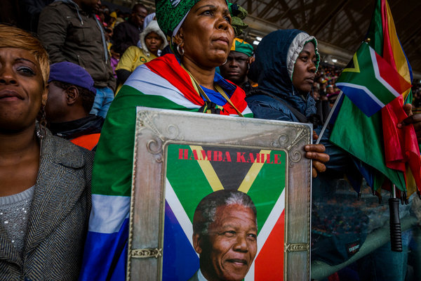 Nelson Mandela's memorial service yesterday in Soweto. (Daniel Berehulak/The New York Times)