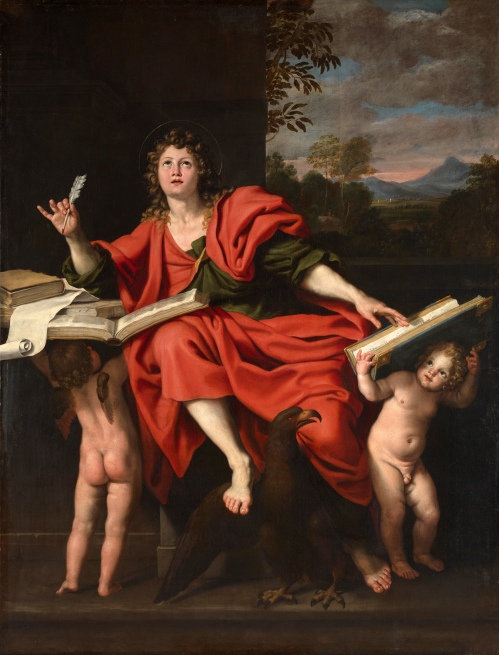 Domenichino (d. 1641): St. John the Evangelist. His Gospel is unlike the other three; he goes beyond their recounting of Jesus's words and acts to interpret the meaning of Christ's message and ministry.