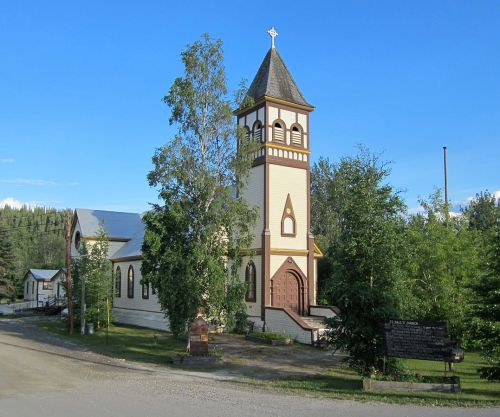 St. Paul's, Dawson City, Yukon, is the former cathedral, and is noteworthy for its Carpenter Gothic design, after the ideas of architect Richard Upjohn, whose feast day we observed ten days ago. (Wikipedia)