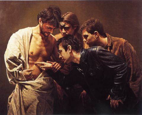 John Granville Gregory's updated version of Caravaggio's Incredulity of St. Thomas.