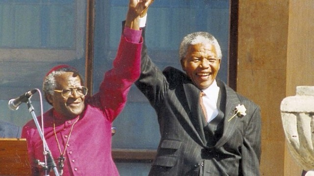 On the day Nelson Mandela was finally released from Robben Island Prison after 27 years, he headed straight for Desmond Tutu's house. It was only the second time they'd ever met, but that was the safe place where Mandela wanted to be; his spiritual growth during his suffering led him to the man of God who'd continued his fight for freedom and reconciliation. (source unknown)