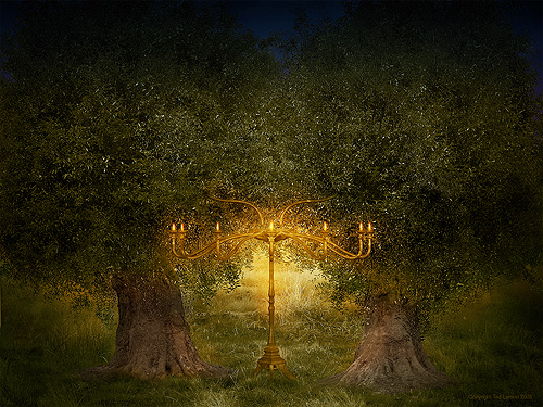 Zechariah's vision of the lampstand and two olive trees. (Digital Art by Ted Larson)