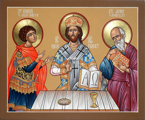 Christ the High Priest, with St. George and St. John. (holy-icons.com)
