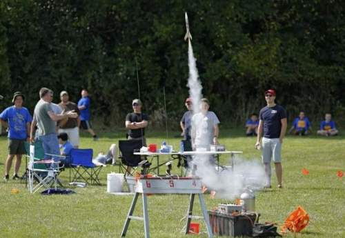 The Boy Scouts of America now allow openly-Gay scouts, but not adult leaders, a change that caused some church sponsors to withdraw their support. In Dayton, Indiana, the United Methodists evicted the Cub Scouts, who were picked up immediately by the United Presbyterian church. The whole controversy overshadows the fact that scouts do some fun things, like this rocket demonstration last summer; we have liftoff! (John Terhube/Journal and Courier)
