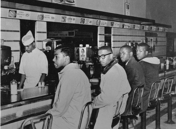 Franklin McCain (second from left), one of the Greensboro Four, has died in North Carolina, 53 years after he and fellow students at N.C. A&T University sat at a Woolworth's lunch counter and ordered coffee and doughnuts, knowing they wouldn't be served. Sit-ins had happened before in the American South, some successful and some not, but Greensboro changed everything, it was an epiphany – because students got involved. (United Press International)