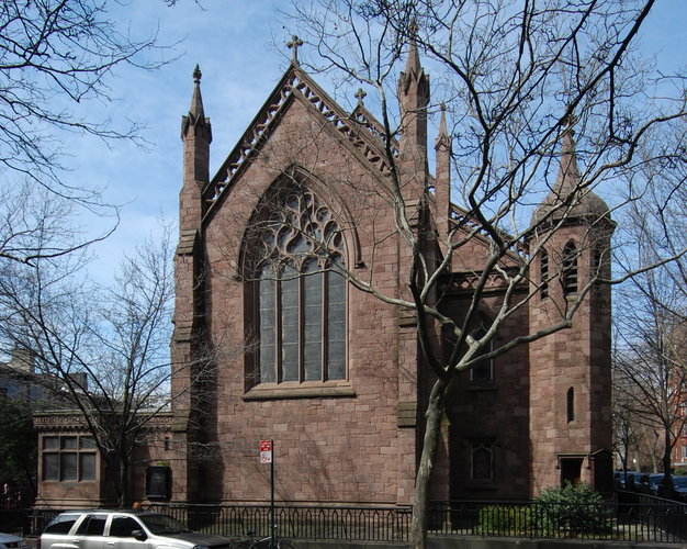 Richard Upjohn: Grace Church, Brooklyn Heights, built in 1848. He had just completed his most famous work, Trinity Church, Wall Street, two years before. Less well known is his fondness for smaller, less expensive but beautiful churches as one of the fathers of the Carpenter Gothic style; his sketchbook of designs for smalltown churches was widely copied. (David W. Dunlap/The New York Times)