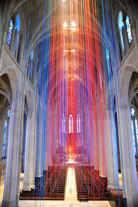 """Graced with Light,"" a 2014 installation of 20 miles of satin ribbon colored like stained glass, at Grace Cathedral, San Francisco. Design: Anne Patterson. (mymodernmet.com)"