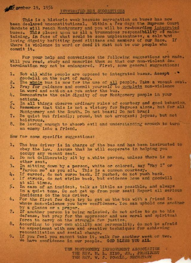 Typewritten instructions by the Rev. Dr. Martin Luther King, Jr. for bus riders in the first week of racial integration after the 1956 Montgomery, Alabama bus boycott were discovered and published last week by slate.com. Enlarge this and read it not as a history lesson, but as a Gospel proclamation, stressing nonviolence, human dignity and reconciliation.