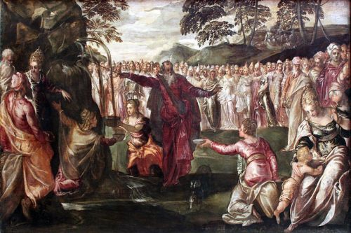 Tintoretto, 1563: Moses Striking the Rock (Wikipedia)