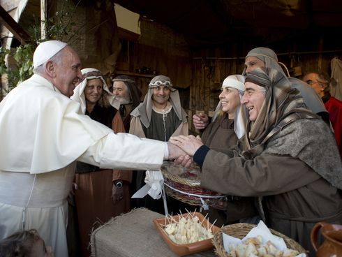 Pope Francis visited a living Nativity scene at a humble parish on the outskirts of Rome a few days after Christmas. (L'Osservatore Romano)