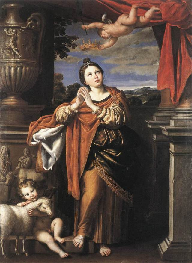 "Domenichino: St. Agnes. She was martyred under Diocletian at age 12 after withstanding threats and tortures. She is often depicted with a lamb, since her name means ""pure"" in Greek and ""lamb"" in Latin. (The Royal Collection, Windsor Castle)"