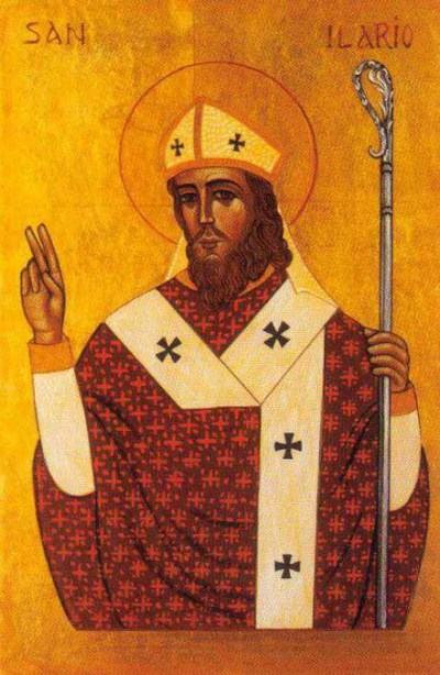 St. Hilary was a defender of the orthodox faith and the Nicene Creed, against the Arian heresy that Jesus was a lesser being than God the Father. Hilary was also a great mentor to St. Martin, later Bishop of Tours, and encouraged him to promote the monastic life. (iconographer unknown)